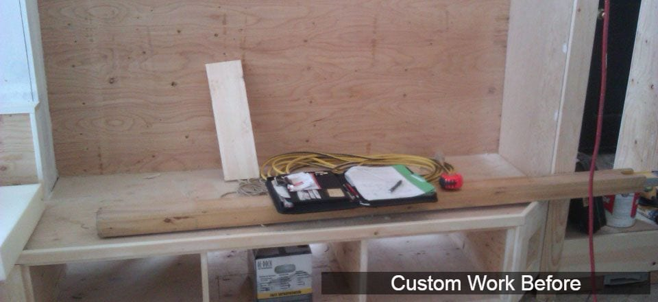 Custom padded bench installation