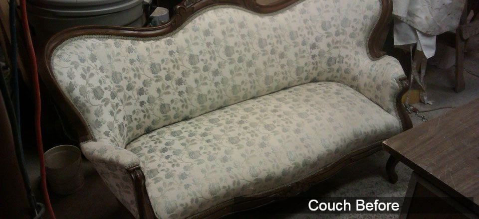 antique couch before reupholstery
