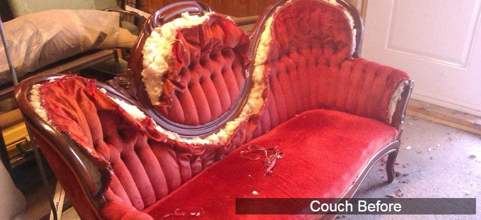 antique couch repair before