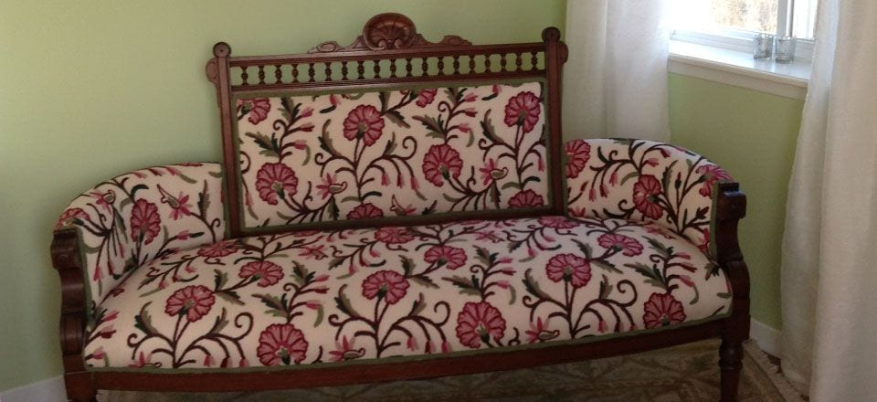 antique settee refinished