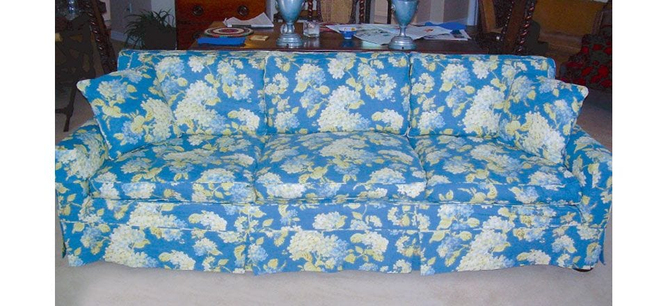 reupholstered large blue floral couch