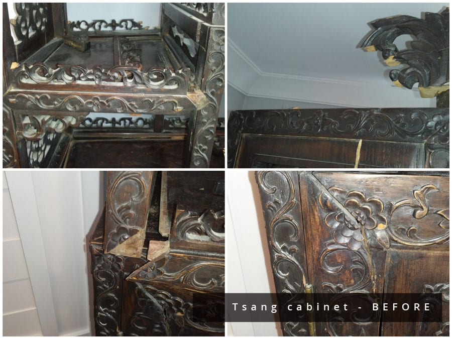collage of damaged tsang cabinet before restoration