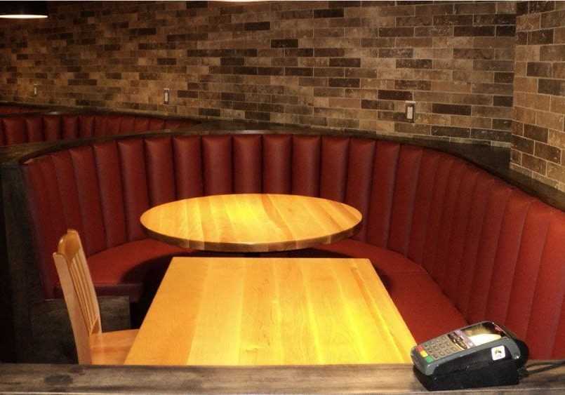 The Axe Lounge, Wolfville - red vinyl booths